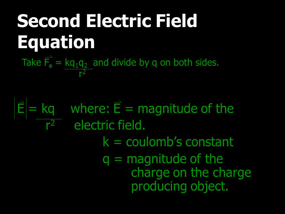 Second Electric Field Equation