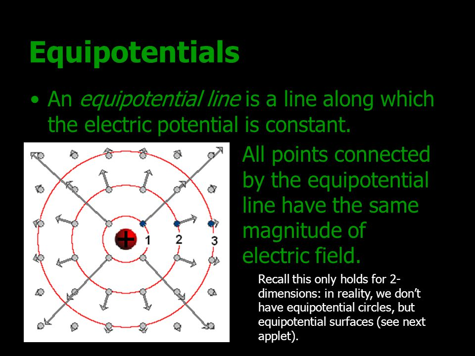Equipotentials An equipotential line is a line along which the electric potential is constant.