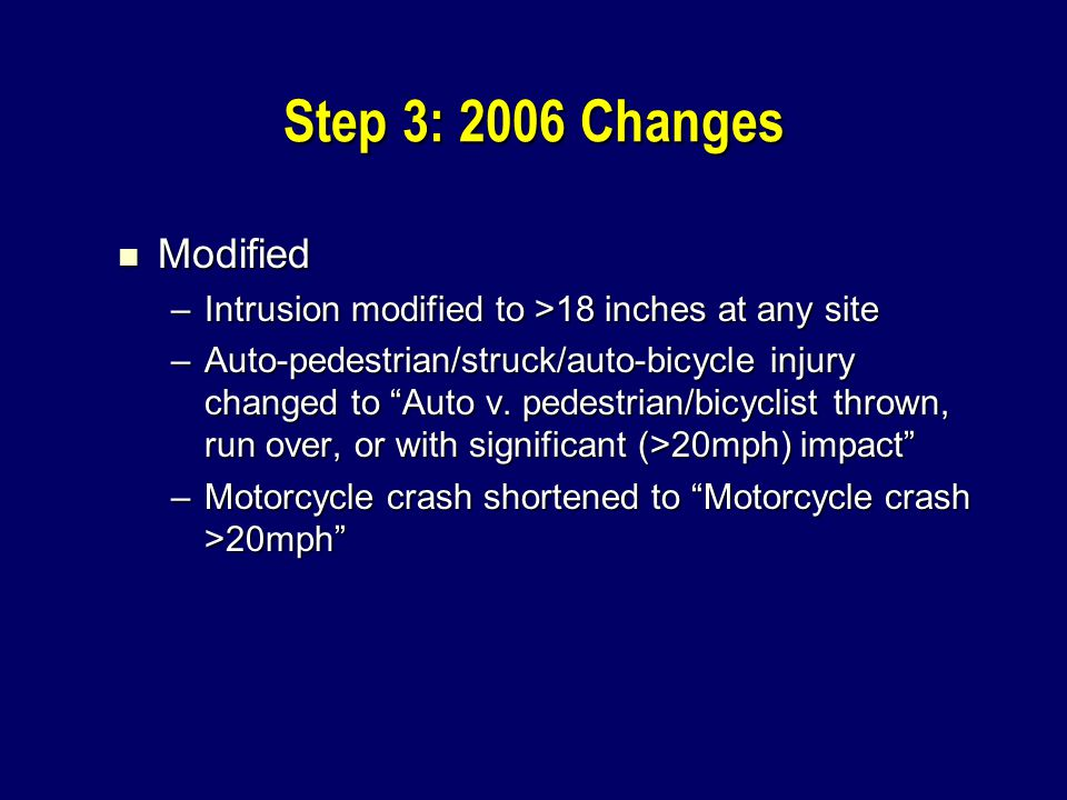 Step 3: 2006 Changes Modified