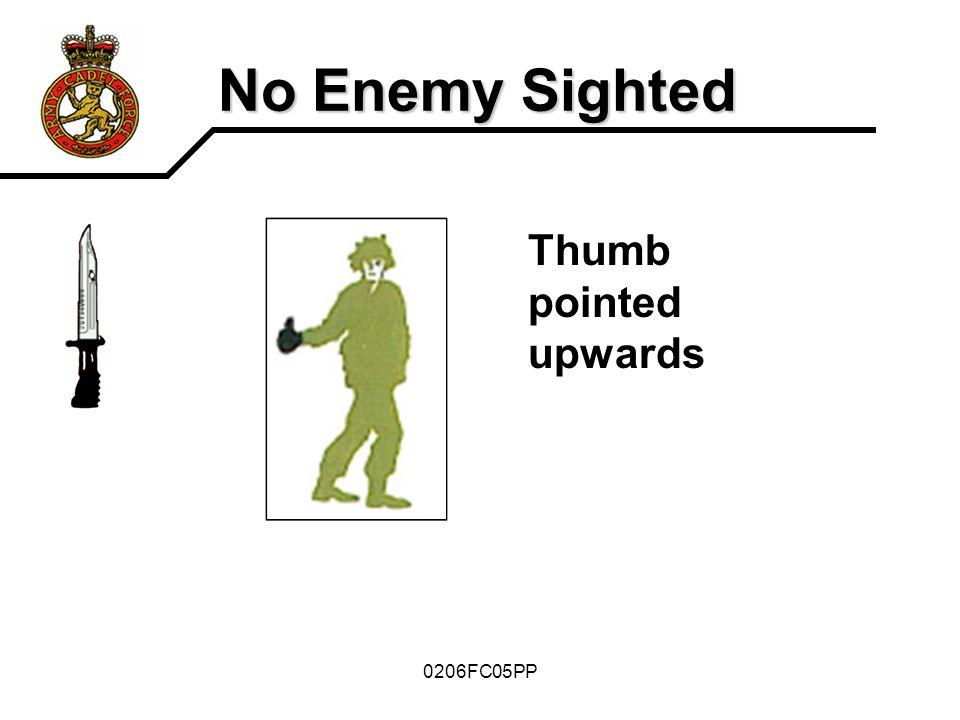 No Enemy Sighted Thumb pointed upwards 0206FC05PP