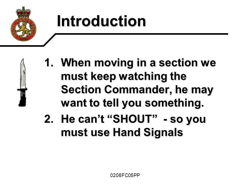 Introduction When moving in a section we must keep watching the Section Commander, he may want to tell you something.