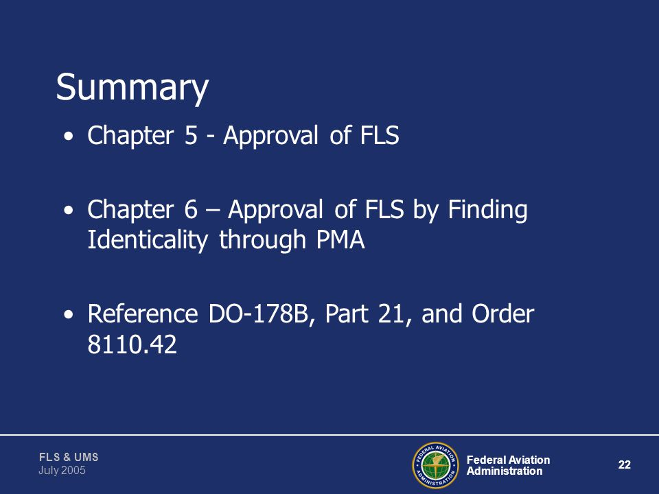 Summary Chapter 5 - Approval of FLS