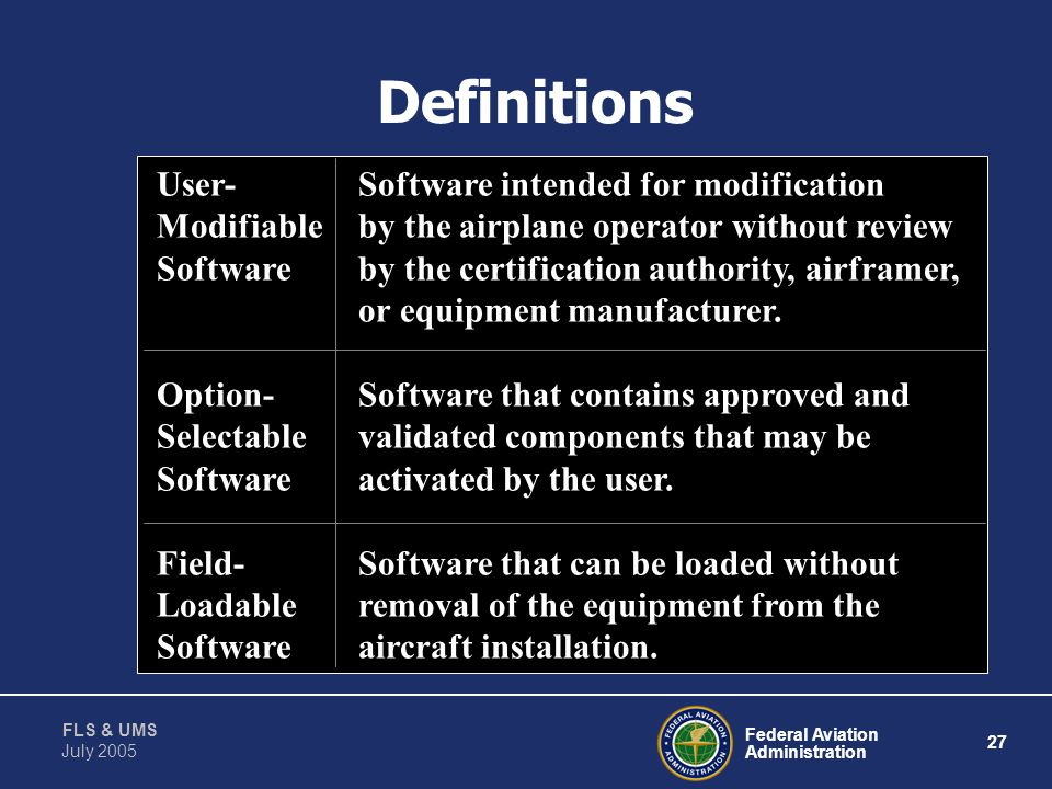 Definitions User- Software intended for modification
