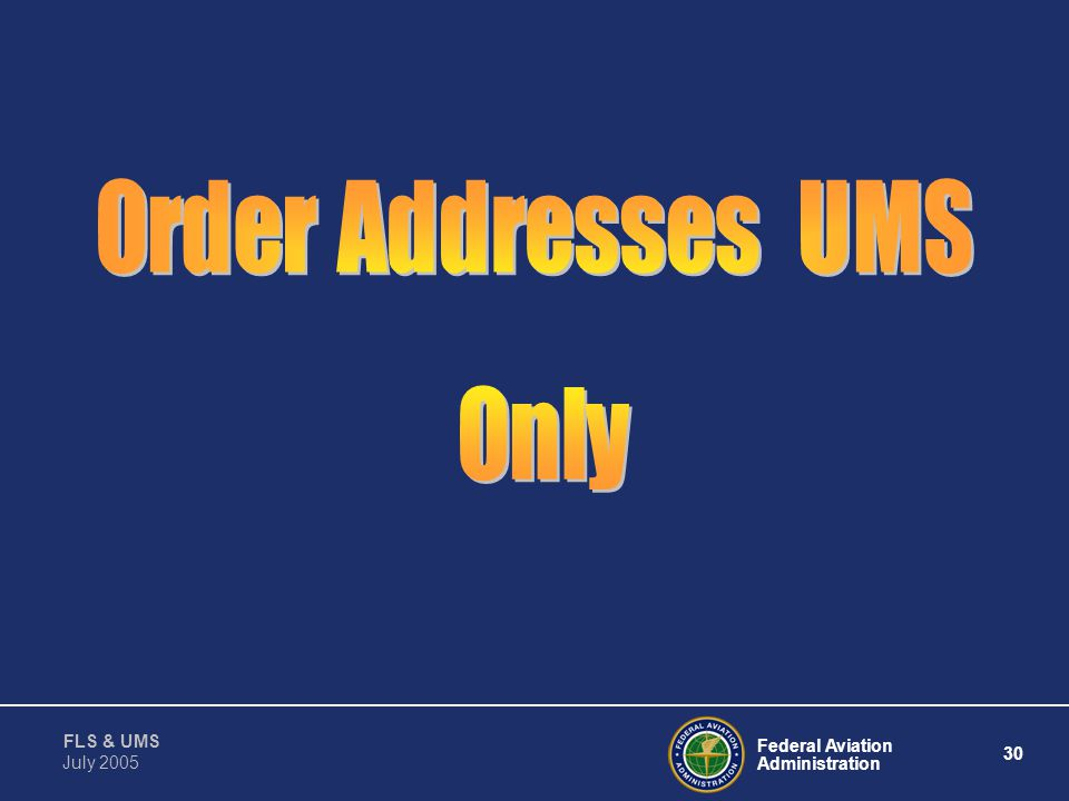 Order Addresses UMS Only