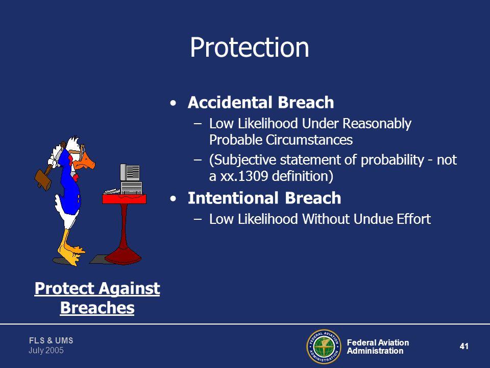Protection Accidental Breach Intentional Breach Protect Against