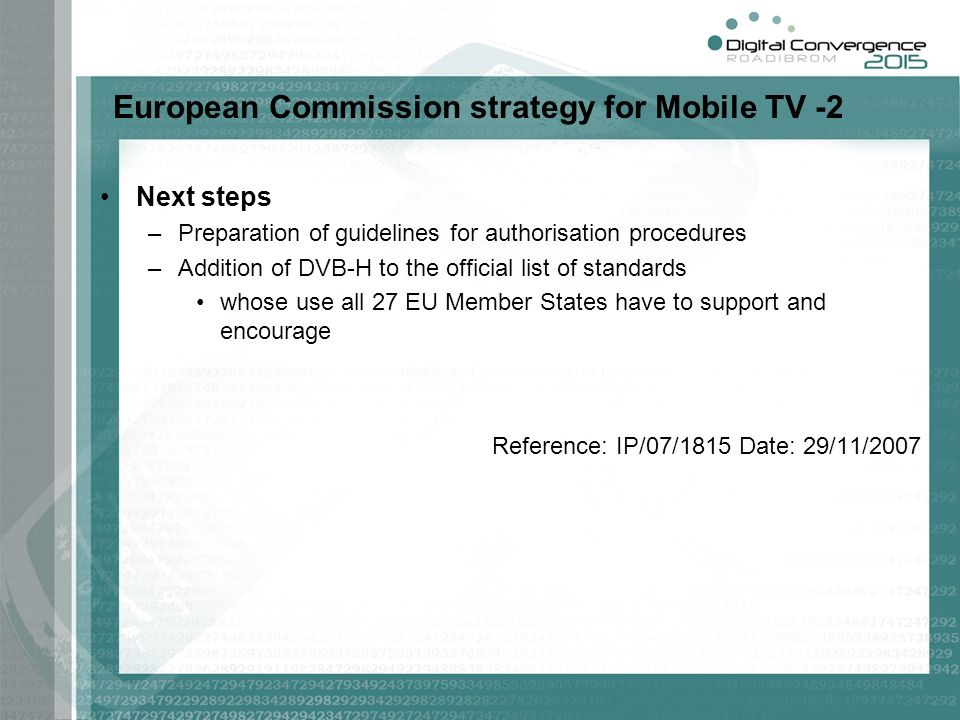 European Commission strategy for Mobile TV -2