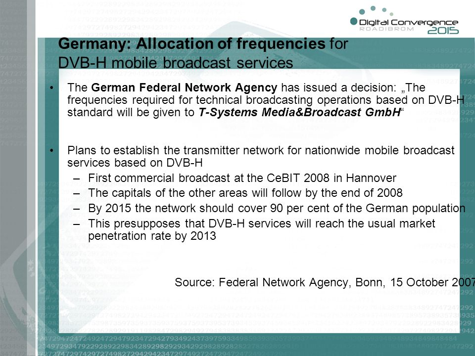 Germany: Allocation of frequencies for DVB-H mobile broadcast services