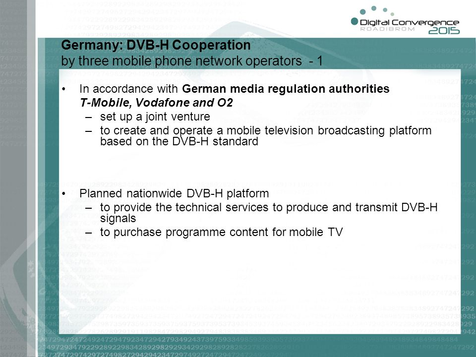 Germany: DVB-H Cooperation by three mobile phone network operators - 1
