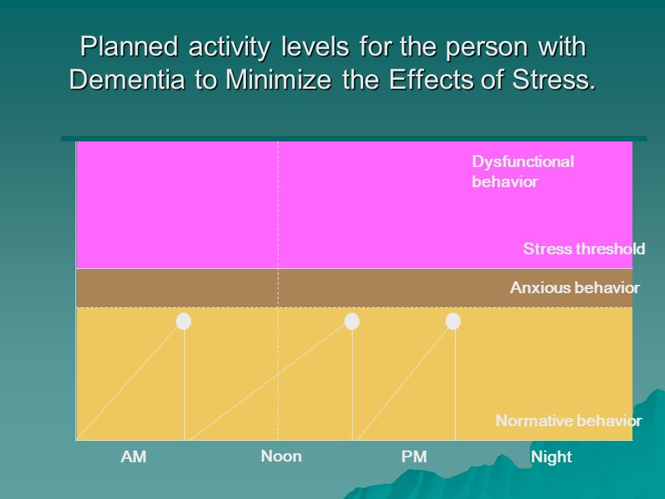 Planned activity levels for the person with Dementia to Minimize the Effects of Stress.