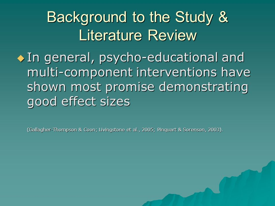 Background to the Study & Literature Review