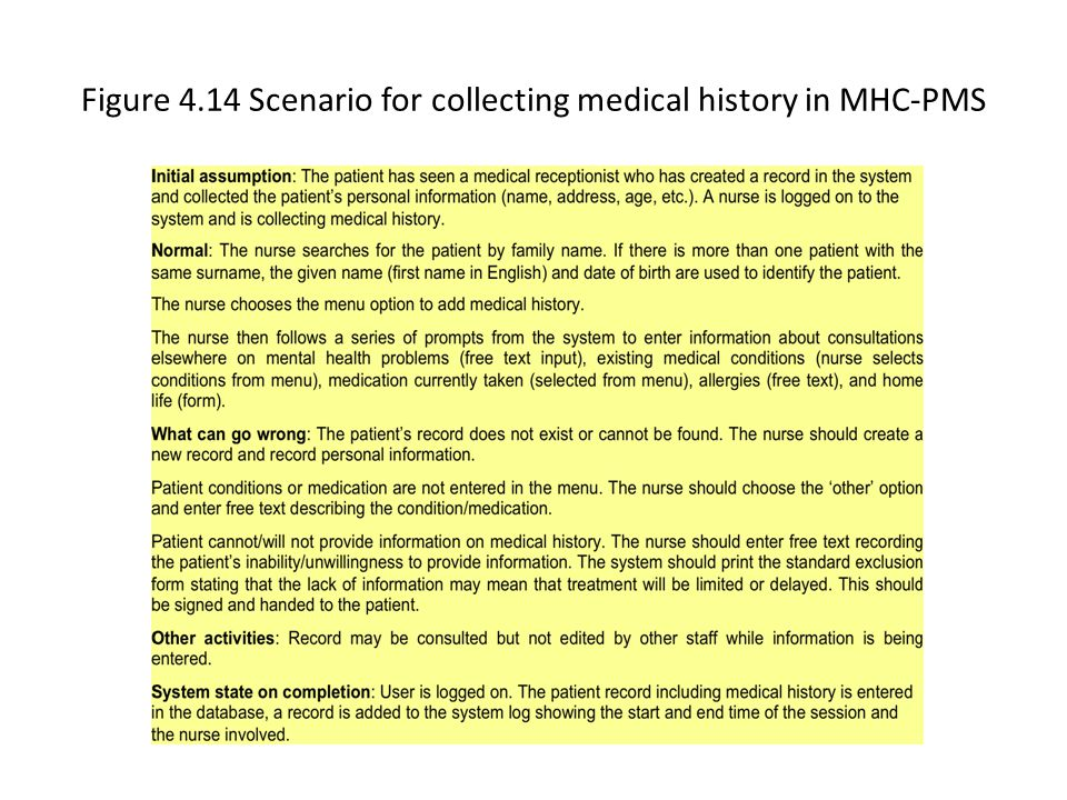 Figure 4.14 Scenario for collecting medical history in MHC-PMS