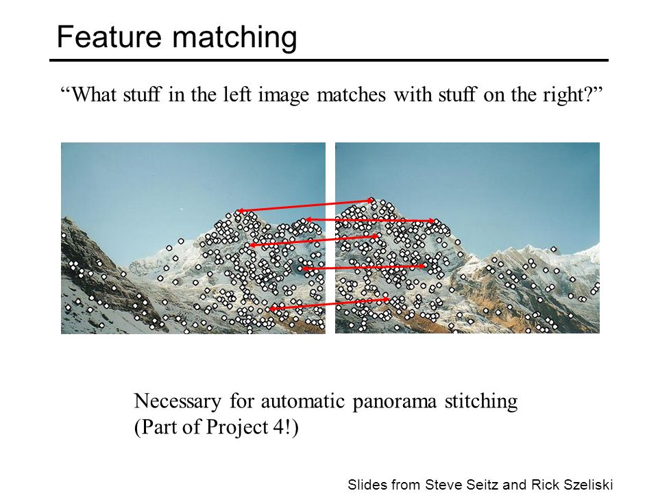 Feature matching What stuff in the left image matches with stuff on the right Necessary for automatic panorama stitching.
