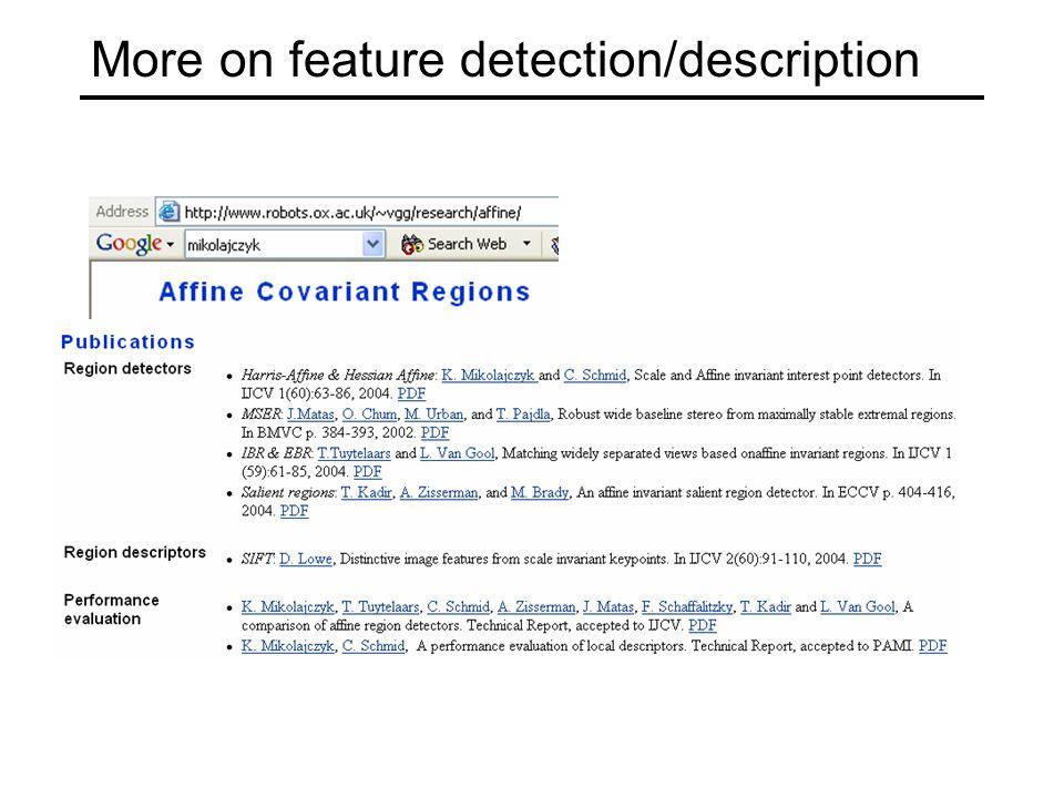 More on feature detection/description