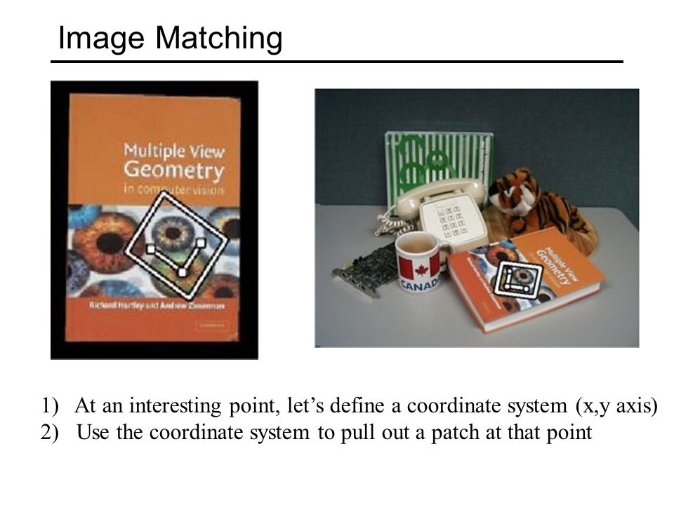 Image Matching At an interesting point, let's define a coordinate system (x,y axis) 2) Use the coordinate system to pull out a patch at that point.
