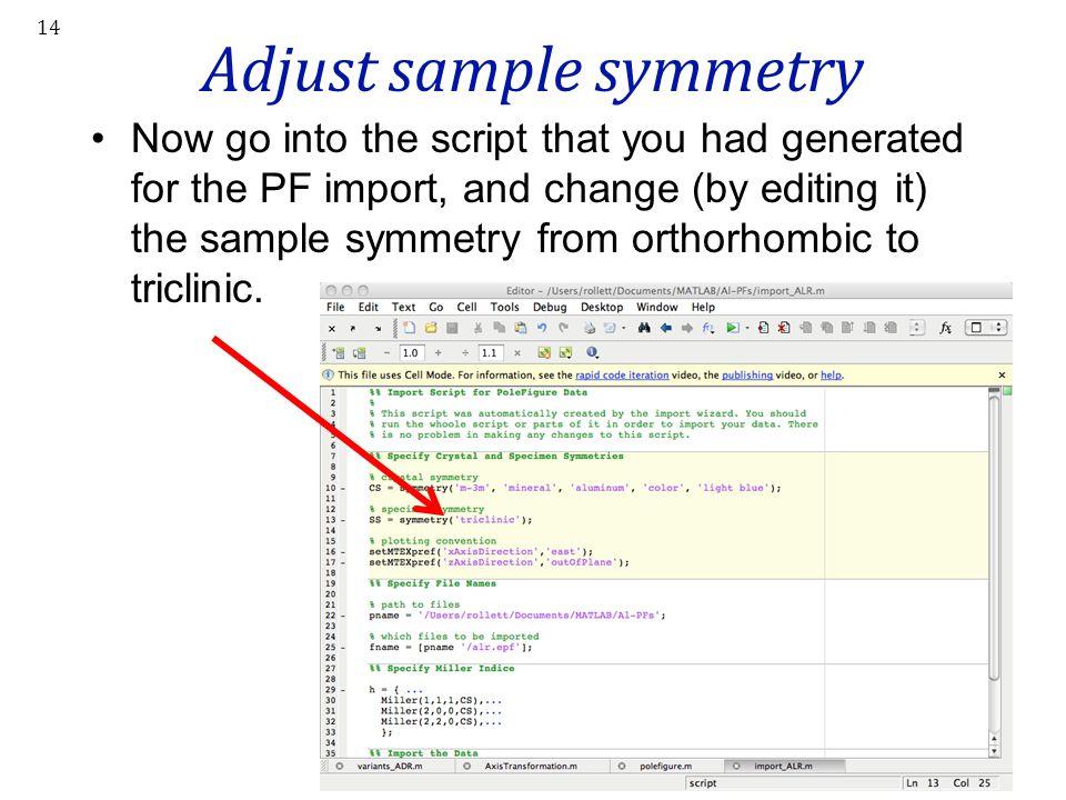 Adjust sample symmetry