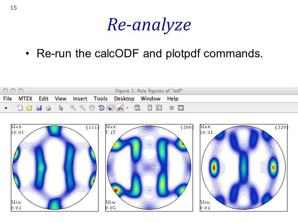 Re-analyze Re-run the calcODF and plotpdf commands.