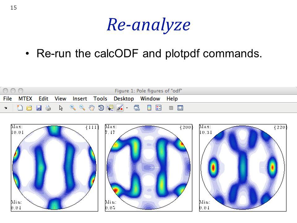 Re-analyze Re-run the calcODF and plotpdf commands.