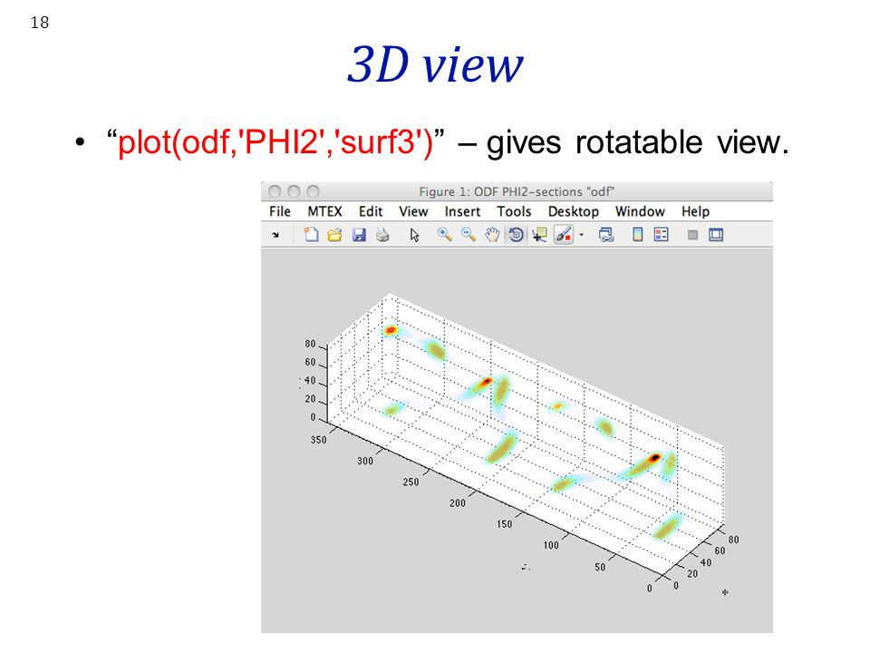 3D view plot(odf, PHI2 , surf3 ) – gives rotatable view.