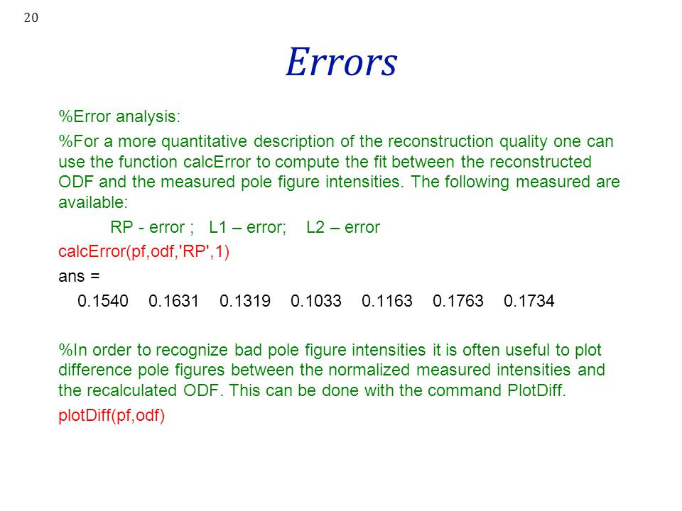Errors %Error analysis: