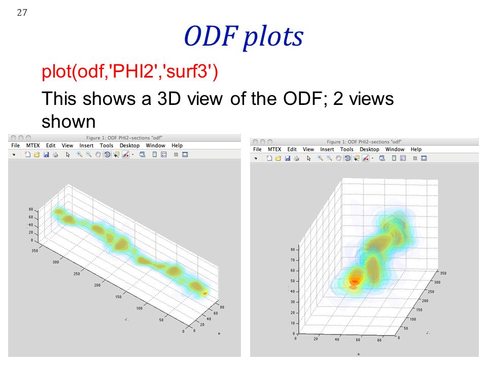 ODF plots plot(odf, PHI2 , surf3 ) This shows a 3D view of the ODF; 2 views shown
