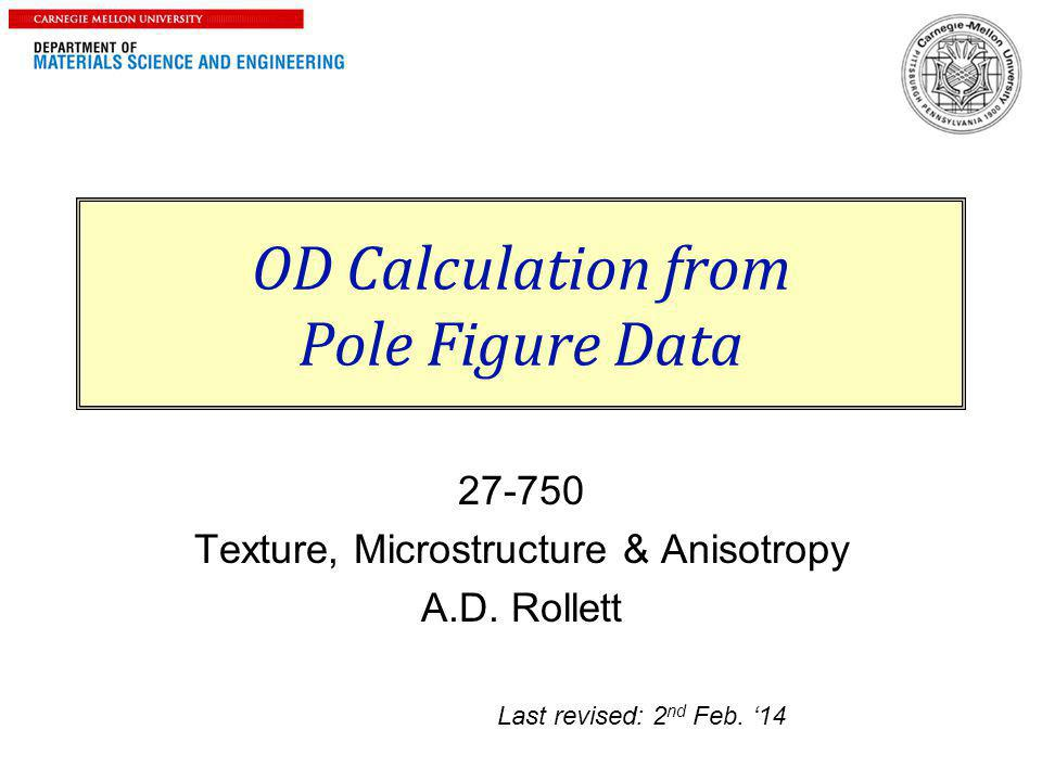 OD Calculation from Pole Figure Data