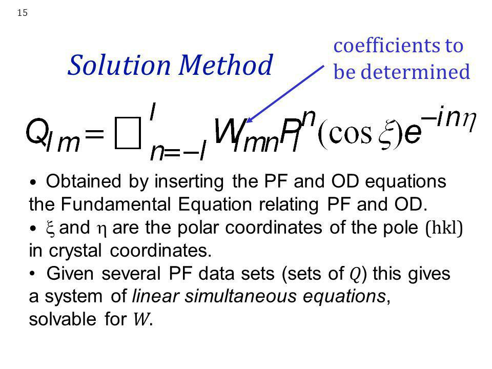 Solution Method coefficients to be determined
