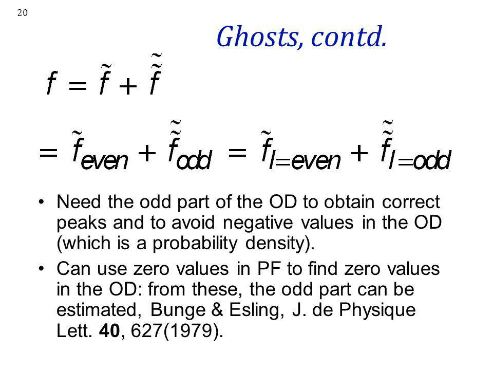 Ghosts, contd. Need the odd part of the OD to obtain correct peaks and to avoid negative values in the OD (which is a probability density).