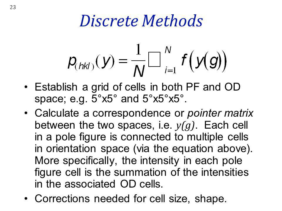 Discrete Methods Establish a grid of cells in both PF and OD space; e.g. 5°x5° and 5°x5°x5°.