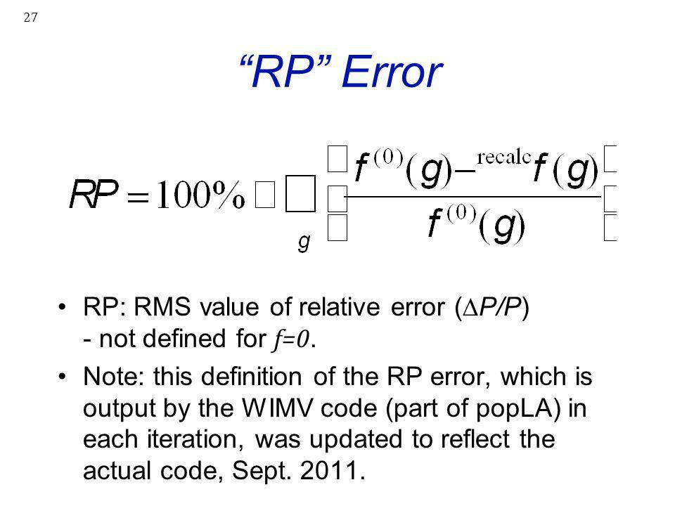 RP Error RP: RMS value of relative error (∆P/P) - not defined for f=0.