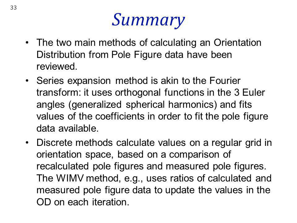Summary The two main methods of calculating an Orientation Distribution from Pole Figure data have been reviewed.