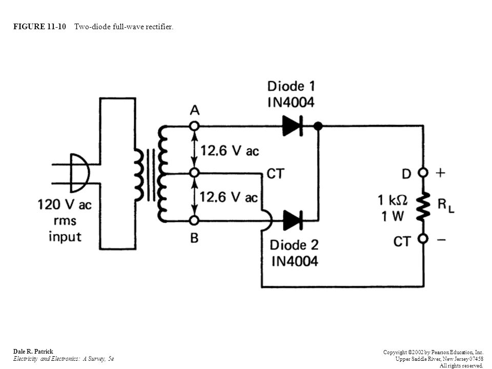 FIGURE 11-10 Two-diode full-wave rectifier.