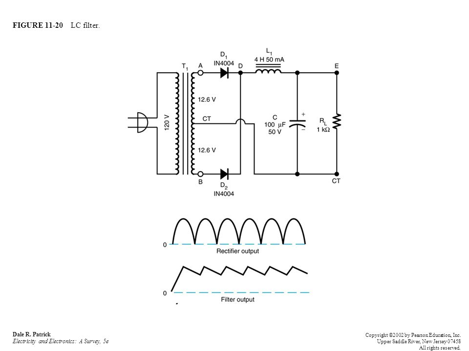 FIGURE 11-20 LC filter. Dale R. Patrick Electricity and Electronics: A Survey, 5e.