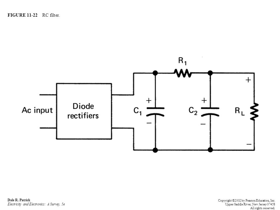 FIGURE 11-22 RC filter. Dale R. Patrick Electricity and Electronics: A Survey, 5e.