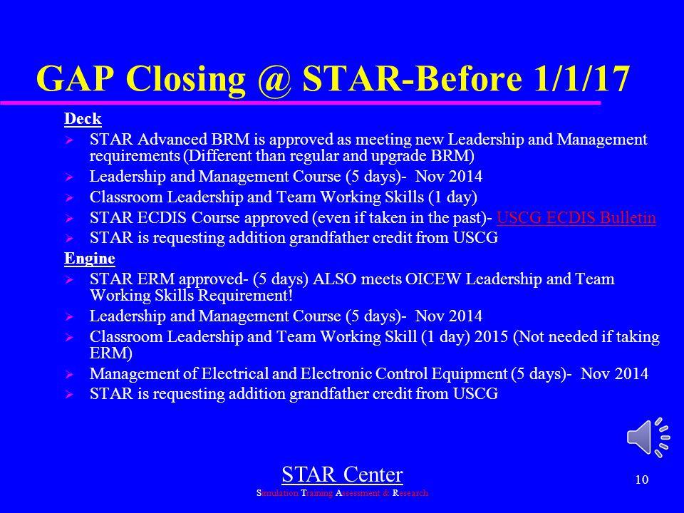 GAP Closing @ STAR-Before 1/1/17