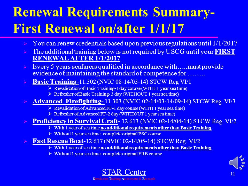 Renewal Requirements Summary- First Renewal on/after 1/1/17