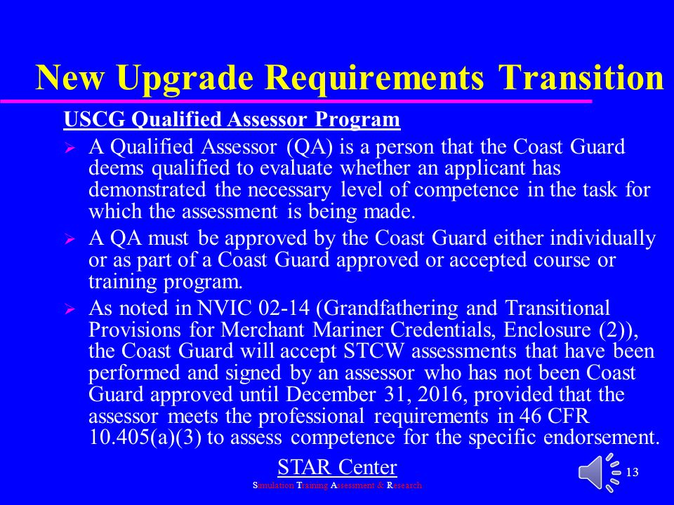 New Upgrade Requirements Transition