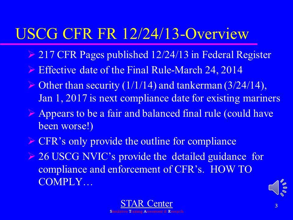 USCG CFR FR 12/24/13-Overview