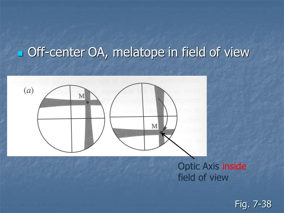 Off-center OA, melatope in field of view