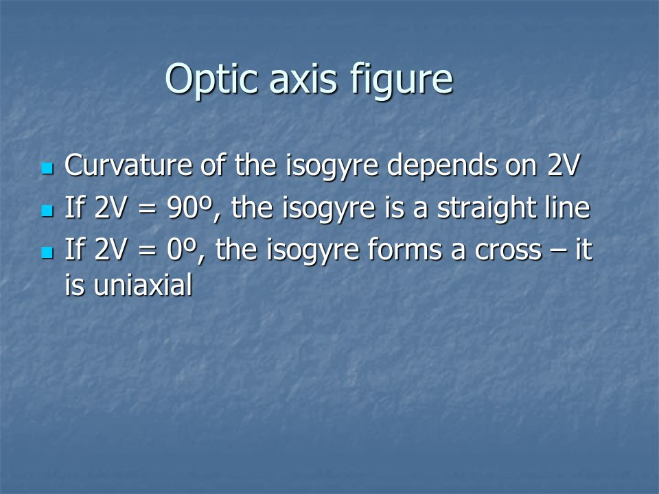 Optic axis figure Curvature of the isogyre depends on 2V