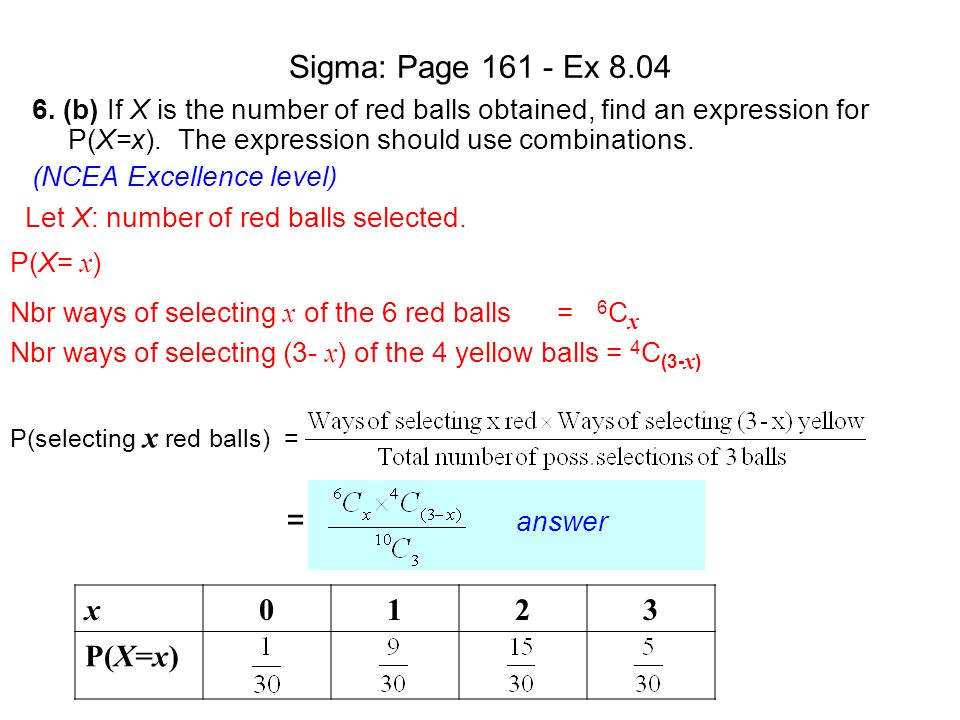 Sigma: Page 161 - Ex 8.04 = answer x 1 2 3 P(X=x)