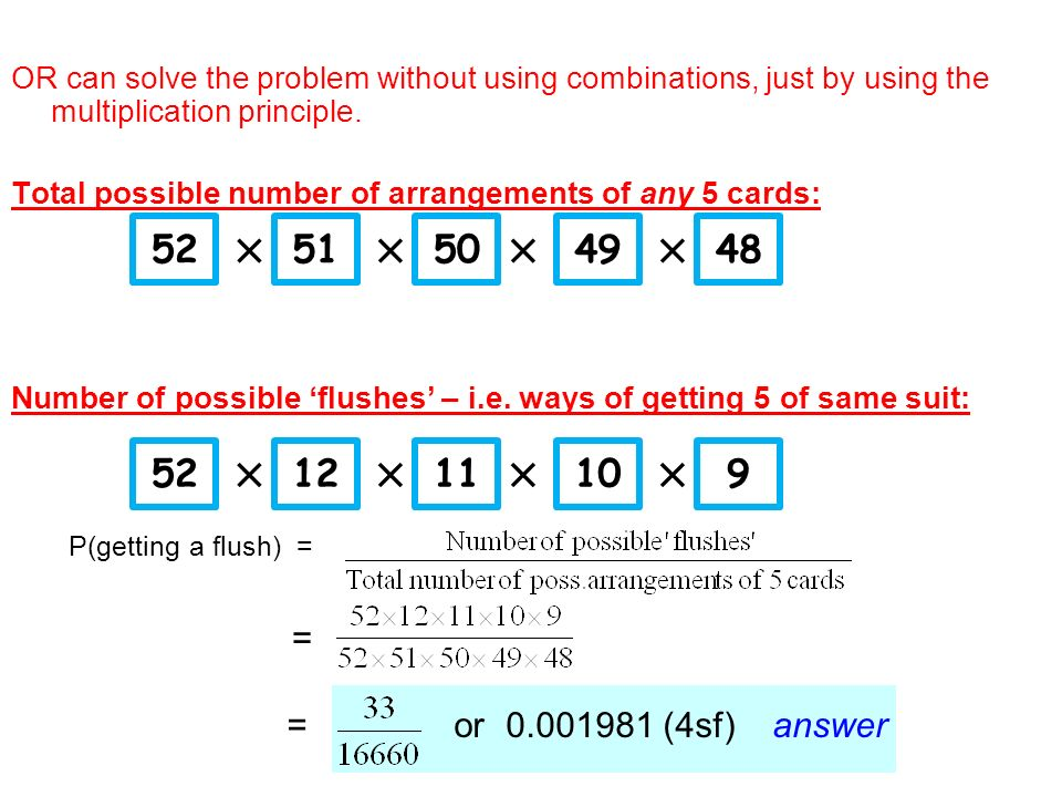 OR can solve the problem without using combinations, just by using the multiplication principle.