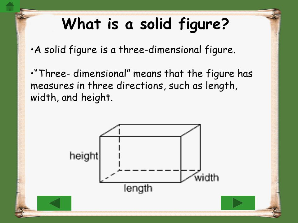 What is a solid figure A solid figure is a three-dimensional figure.