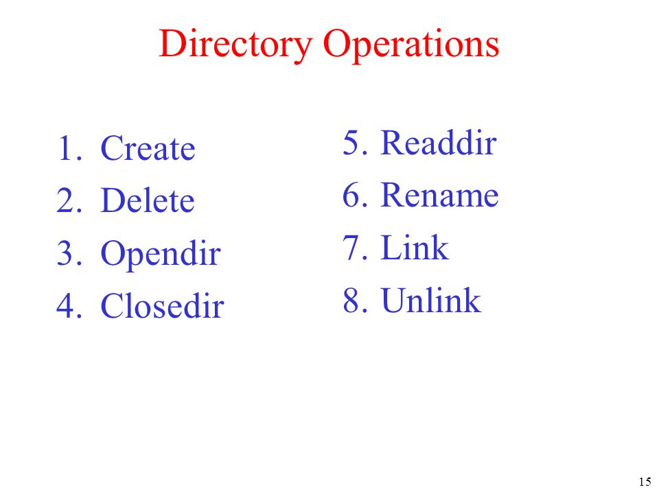 Directory Operations Readdir Create Rename Delete Link Opendir Unlink
