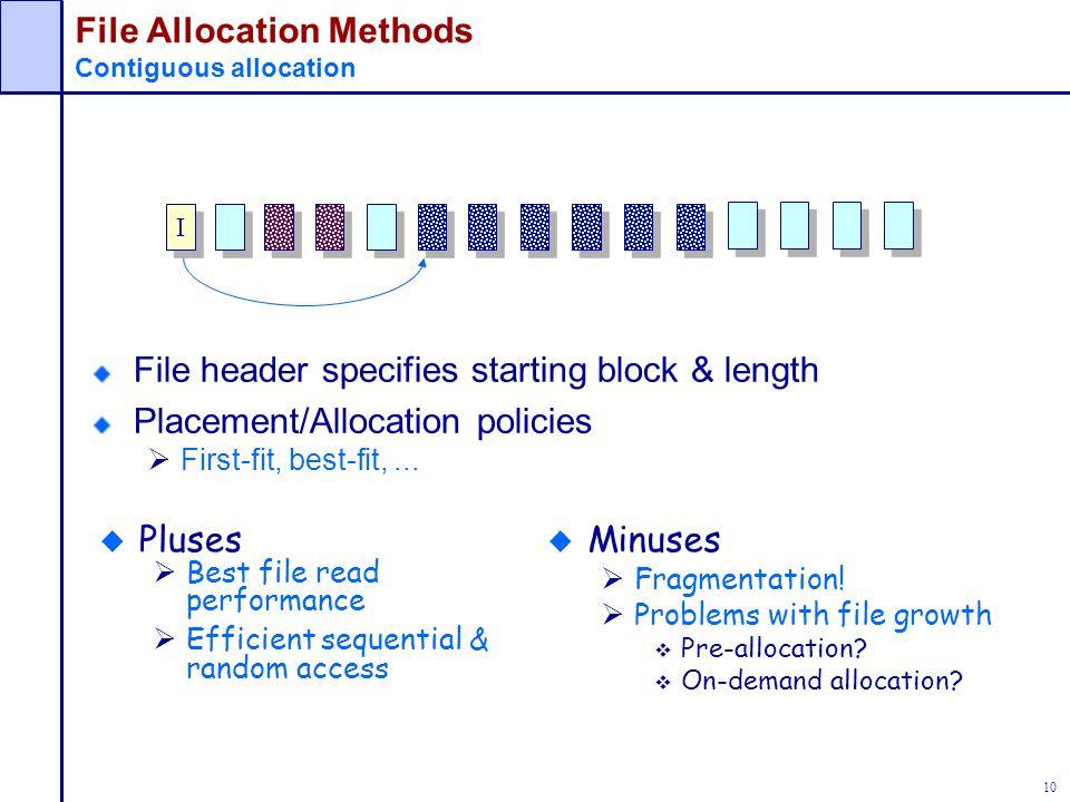 File Allocation Methods Contiguous allocation