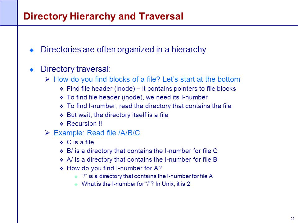 Directory Hierarchy and Traversal