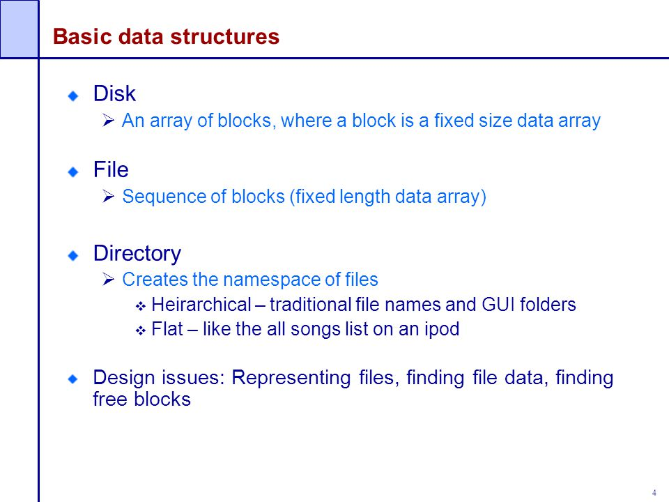 Basic data structures Disk File Directory