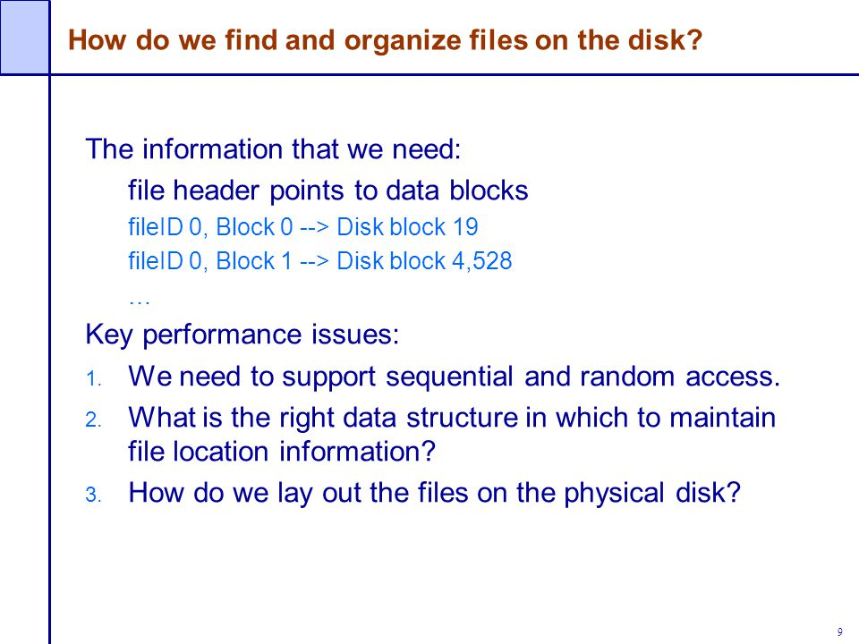 How do we find and organize files on the disk