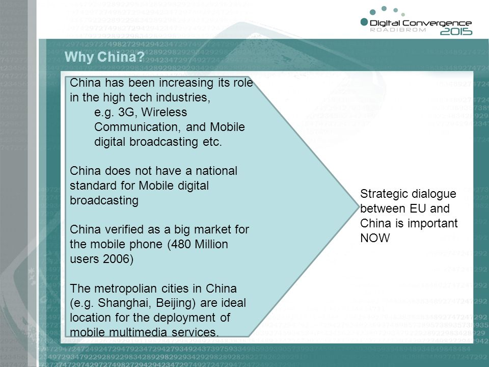 Why China China has been increasing its role in the high tech industries, e.g. 3G, Wireless Communication, and Mobile digital broadcasting etc.
