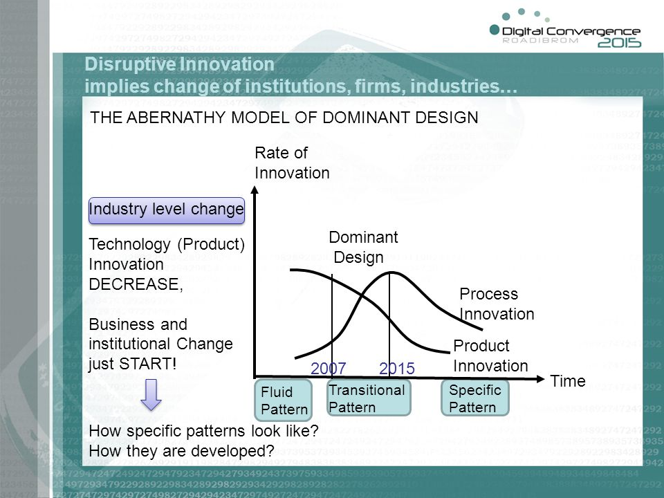 Disruptive Innovation implies change of institutions, firms, industries…