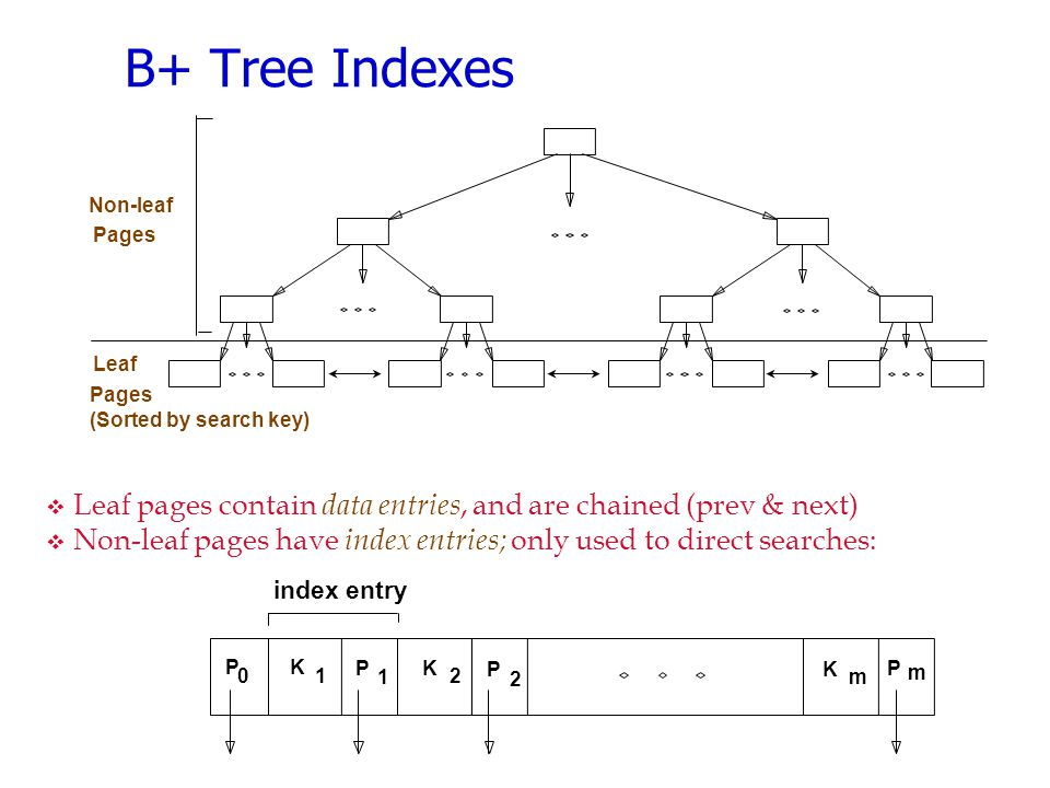 B+ Tree Indexes Non-leaf. Pages. Leaf. Pages. (Sorted by search key) Leaf pages contain data entries, and are chained (prev & next)